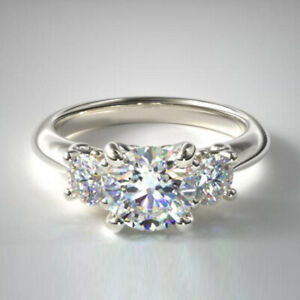 1.00 Carat Diamond Engagement Solid 950 Platinum Trilogy Ring Size M N 1/2 O P Q