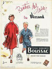 PUBLICITE ADVERTISING 115  1956  BOUSSAC  tissu manteau enfant doublage amovible