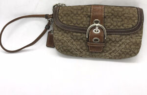 COACH Mini C Signature Khaki Brown Small Wristlet Wallet Change Purse