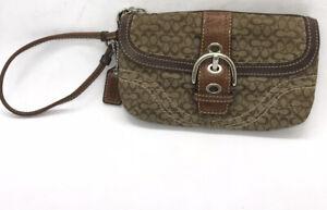 COACH Mini C Signature Khaki Brown Small Wristlet Wallet Change Purse
