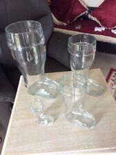 4 Botas de cerveza de vidrio por oberglas Austria con medidas estampado en cada # A