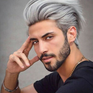 Short Mens Wig White Gray Straight Layered Cosplay Synthetic Hair W/cap Costume