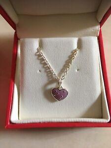 KIT HEATH ...NEW....Childs Sterling Silver& Enamel Heart Necklace IN BOX
