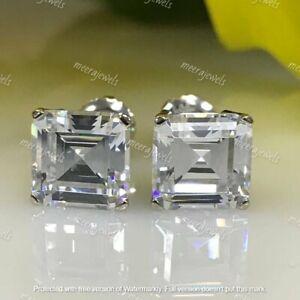 4Ct Asscher Cut VVS1/D Diamond Solitaire Stud Earrings 14K White Gold Over