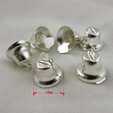 HOT 10pcs Silver Tone Metal Christmas Jingle Bell Craft Bell  Finding Charm 14MM