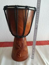 Bongo Trommel aus Holz 30 cm hoch 15 cm Durchmesser  Palmenmotiv