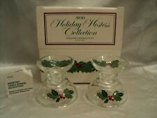 Avon Holiday Hostess Collection Holiday Glass Candlesticks Set of Two