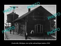OLD LARGE HISTORIC PHOTO OF FOWLERVILLE MICHIGAN, THE RAILROAD DEPOT c1910