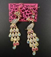 Betsey Johnson Peacock Rainbow Colors Dangled Earrings Crystals Adorable