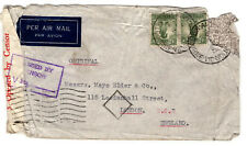 Australia KGVI 1943 WW2 Censor Airmail Cover CARLTON AND UNITED BREWERIES