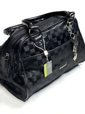 Carpisa New Nwt Black Bowler Bucket Bag Check Print Purse Charm Accent Medium