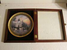 Thomas Kinkade 2000 Victorian Christmas Plate in wood Display frame #2447A