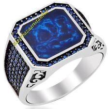 Turkish Handmade 925 Sterling Silver SPECIAL Sapphire Mens Ring Sz 11us Free Rsz