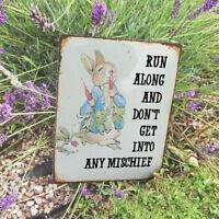 Peter Rabbit Mischief   - VINTAGE ENAMEL METAL TIN SIGN WALL PLAQUE