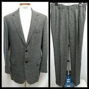 Oxxford Clothes Bespoke 44 Long Birdseye Gray Wool Flannel Suit Working Cuffs