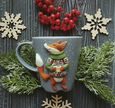 Decorated fox mug handmade Unique tea coffee cup Funny mug Personalized gift