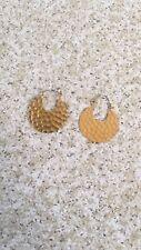 Gold Tone Hoop Earrings Hammered Effect Boho Brutal Ethnic Viking Coin Crescent