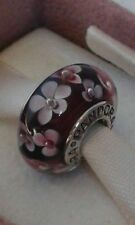 Pandora Murano Glass Charm Bead with Flowers stamped Silver S925 ALE New