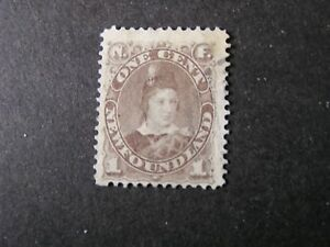 NEWFOUNDLAND, SCOTT # 42, 1c.VALUE GRAY BROWN PRINCE OF WALES 1880-96 ISSUE USED