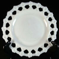 EAPG Westmoreland Lace Edge FORGET ME NOT Opalescent Milk Glass Plate (loc-24)