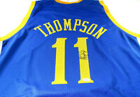 KLAY THOMPSON / AUTOGRAPHED GOLDEN STATE WARRIORS BLUE CUSTOM JERSEY / COA