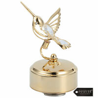 Matashi 24K Gold Plated Music Box with Crystal Studded Bee-Hummingbird Figurine
