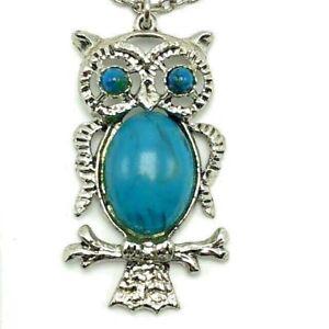 Vintage 70's 80's Owl on Branch Pendant Necklace Silvertone Faux Turquoise