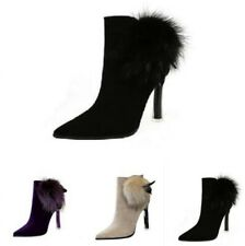 Women High Heel Faux Fur Lined Suede Ankle Boot Pointed Toe Zip Winter Shoes L