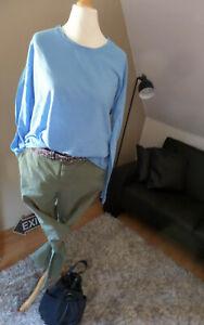 ♥Rich & Royal Shirt Longsleeve bleu lässiger pure Look vokuhila unifarben Gr. L♥