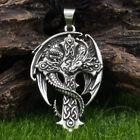Celtic Cross Dragon Guardian Amulet Pendant Necklace Antique Silver Norse Viking photo