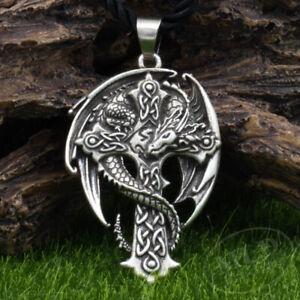 Celtic Cross Dragon Guardian Amulet Pendant Necklace Antique Silver Norse Viking