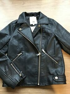 Girls Black Faux Leather Biker Jacket By River Island Age 9-10 Years