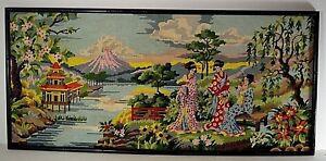 NEEDLEPOINT JAPANESE GEISHA MONT FUDJI PAGODA VINTAGE ART WORK XL 45.1/2''x20''