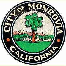 Monrovia CA  California   Vintage Looking Travel Sticker Decal
