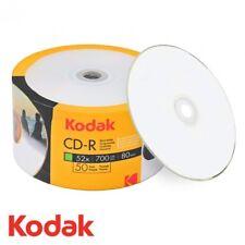 100 Kodak Blank CD-R CDR 52x White Inkjet Hub Printable 700MB 80MIN Media Disc