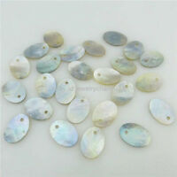 18308 50pcs 14x10mm Nature Shell Oval Beach Pendant Dangle For Necklace Jewelry