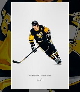 Mario Lemieux Pittsburgh Penguins Hockey Illustrated Print Poster Art NHL