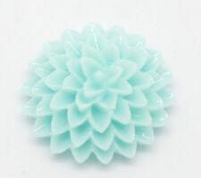 10 Resin Flower Cabochons, Chrysanthemum Mum LIGHT TURQUOISE BLUE 15mm cab0150