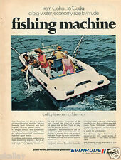 1970 Print Ad of Evinrude Sport Fisherman Coho Fishing Boat