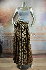 New MINK PINK Leopard Brown Carmel Black Pleated Long Maxi Cotton Skirt Medium