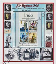 GB STAMPS M/S 1979 SIR ROWLAND HILL  A4 DESIGNED CARD.  PLUS FREE GIFT/S(129)