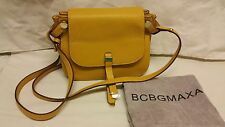 BCBGMAXAZRIA KEELY SMALL LEATHER SADDLE CROSS-BODY BAG Yellow WT SRP $198