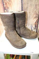 b0e780c695d6 UGG 4 Brown Sheepskin 4 Side Zipper Women s   Girl s Winter Boots