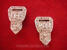 """B.O. """"Boucles de Ceinture"""" Pavé cristal Blanc - Bijoux Vintage Sphinx"""