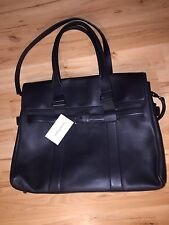 Salvatore Ferragamo Mens Designer Leather Briefcase Work Travel Bag In Black