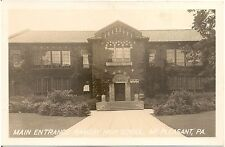 Main Entrance to Ramsay High School in Mt. Pleasant PA RP Postcard