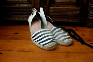 Wittner Black White Striped Espadrilles Wedges Shoes Size 41 New $299 Ankle Tie