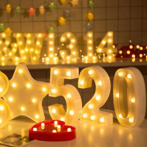 ALPHABET LETTER LED LIGHT UP NUMBERS WHITE PLASTIC LETTERS STANDING SIGN DECOR #