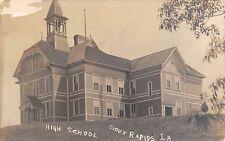 Sioux Rapids Iowa~High School on Hill~Belfry~Ladder Fire Escape~1913 RPPC