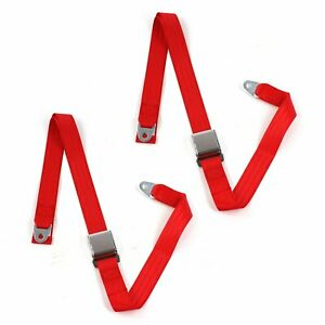 Early Cars 1941 - 1948 Airplane 2pt Red Lap Bucket Seat Belt Kit - 2 Belts
